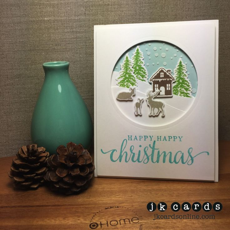 Happy Christmas Winter Scene. Hero Arts Winter Scene Photopolymer and Frame Cuts, Hero Arts Happy, Happy Christmas Wood Mount, Sizzix Circles Framelits, Simon Says Stamp Falling Snow Stencil, Simon Says Stamp Stitched Slopes and Hills, Wendy Vecchi White Embossing Paste