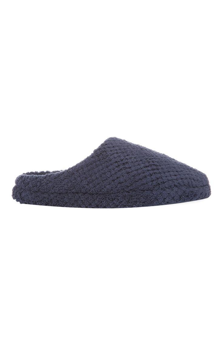 3€ Primark - Pantufla azul marino de tela de toalla