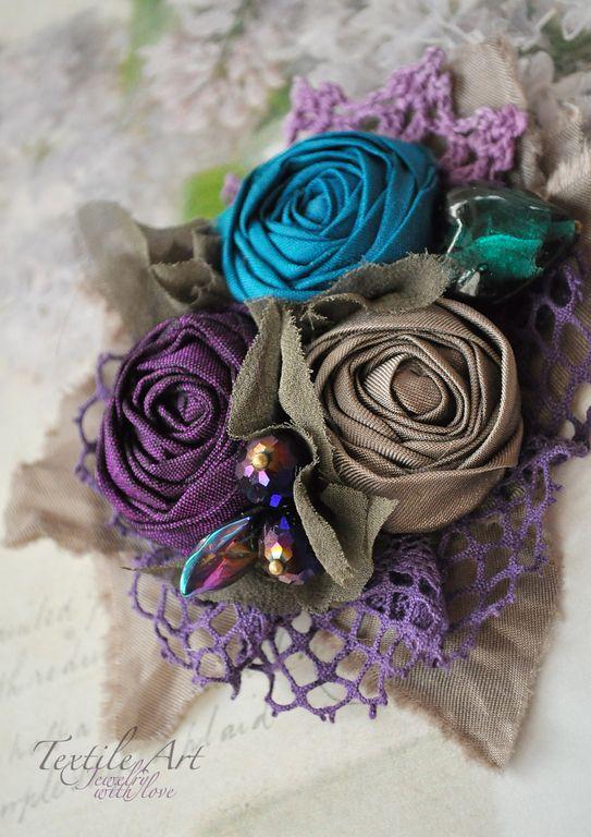 """Купить Брошь """"Букетик таинственный"""" - брошь, брошь цветок, роза, брошь роза, кружево, романтика"""