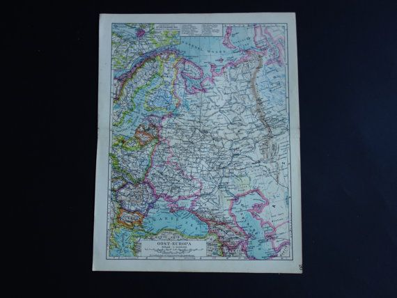 RUSSIA old map of Poland Finland 1930 original by DecorativePrints