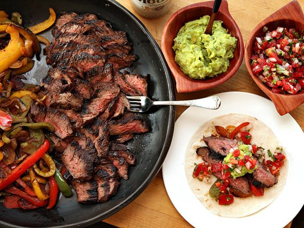 Classic grilled steak fajitas in a richly flavored marinade, served with sizzled peppers and onions in soft flour tortillas.