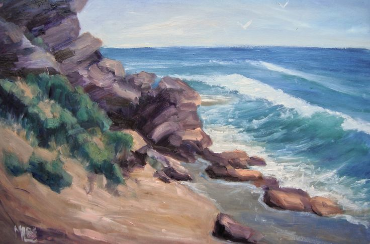 'Day 29 Barwon Heads Bluff ' The rugged rock cliffs, wind pruned bushes, rocks, creamy sand and crashing waves were the subject of today's painting. The challenge was to simplify and capture the feeling of the scene with exciting brush strokes.