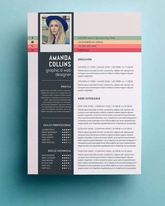 resume template professional creative and modern resume design with cover letter word template - Unique Resume Examples