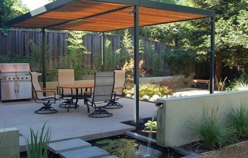 Simple shade structure and water feature outdoor spaces pinterest simp - Faire sa pergola en bois ...