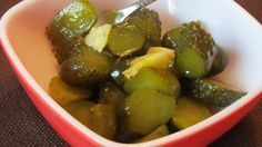 Spicy Christmas Pickles (No Cook) from Food.com: These are an easy icebox pickle that are spicy and sweet and stays crisp. Why are they called Christmas pickles? Because they are bright green or red!!! I usually make green and red to liven up the holiday relish tray. I also make these pickles without the food coloring and they are a family favorite throughout the year. I found the recipe years ago in a local electric co-op magazine.