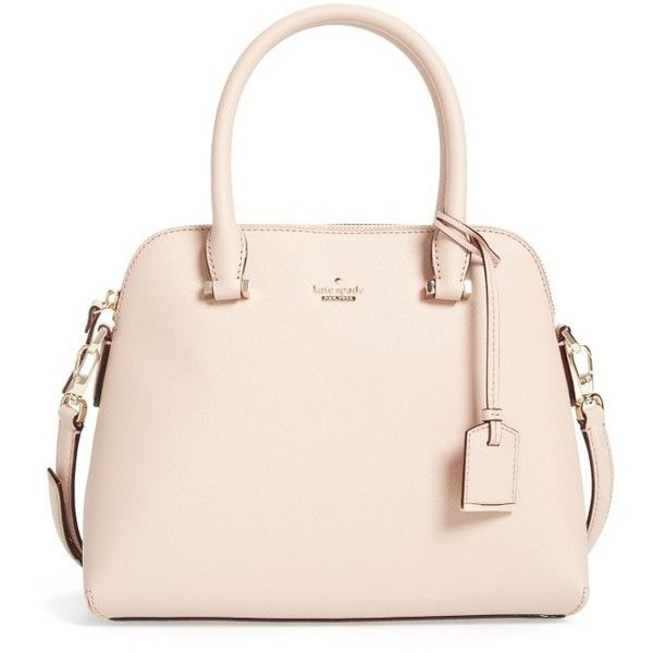 Women's Kate Spade New York Cameron Street Maise Leather Satchel ($298) ❤ liked on Polyvore featuring bags, handbags, tile blue, blue purse, kate spade handbag, pink leather handbags, leather satchel purse and leather purses
