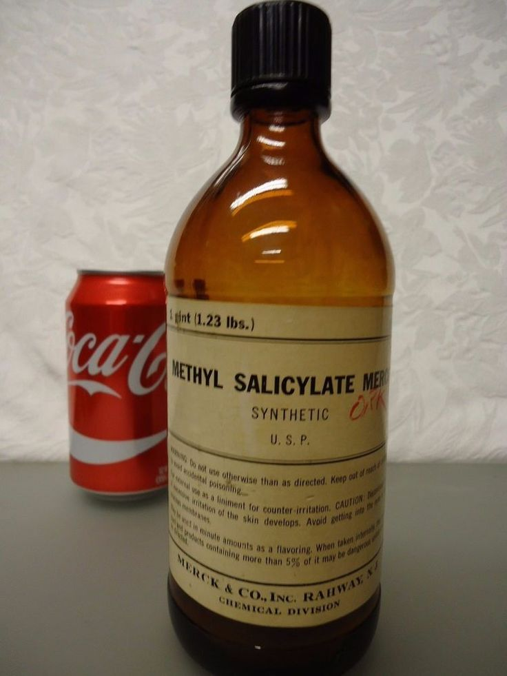 Merck & co. Methyl Salicyate Merck synthetic vintage Empty Medicine Bottle  pint