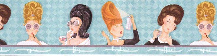 Salon Hairdo Wallpaper Border BA7014b \u003cbr\u003e CLEARANCE!! QUANTITIES
