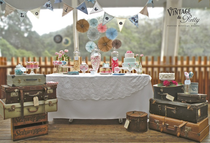 This is a fab 50s blue, pink & polka dot candy buffet by Vintage & Pretty.  Venue: Zealandia, Wellington, New Zealand  Sweets:  The Old Lolly Shop, Takapuna   Cake: Decorada, Kelburn, Wellington  Pretty Paper: Paper Eskimo available at www.vintageandpretty.co.nz