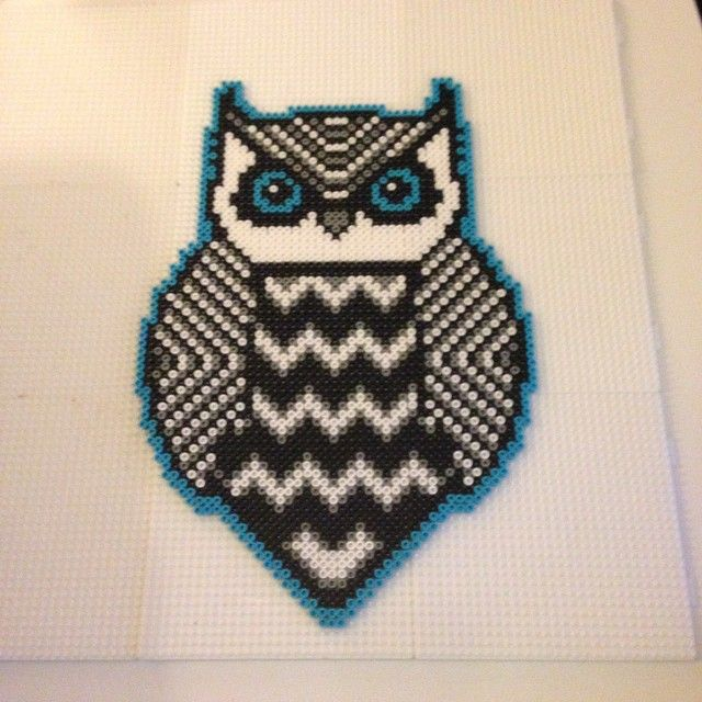Tribal owl perler art by kilaueaz