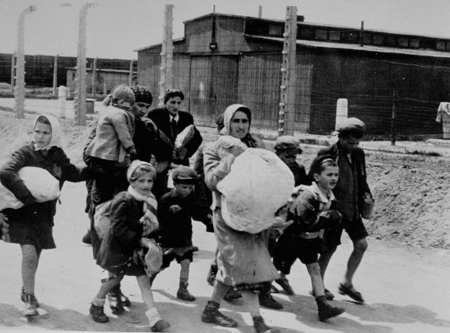 Jewish women and children who have been selected for death at Auschwitz-Birkenau, walk toward the gas chambers.