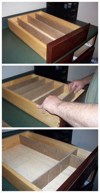 """Next my awesome man went out to his workshop and cut strips of wood. He used ¼ inch Masonite that we already had on hand. For our particular drawer we needed 3 strips that were 19 3/4"""" x 2 7/8"""" and 5 strips that were 13 3/4"""" x 2 7/8""""."""