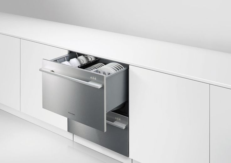 Fisher & Paykel Double DishDrawer™ (DD60DDFX7). Designed to fit existing kitchen cabinetry, the DishDrawer™ Double dishwasher has comparable dimensions to those of traditional dishwashers but provides the benefit of two independent drawers for added convenience and ergonomics.