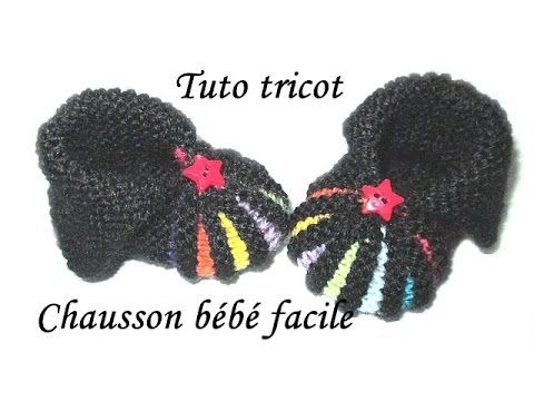 TUTO TRICOT CHAUSSON BEBE FACILE AU TRICOT POINT DE GODRON - YouTube
