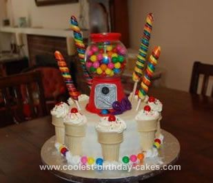 Homemade Gumball Machine and Ice Cream Cone Cake: I made this Gumball Machine and Ice Cream Cone Cake for my sister in law's 35th birthday! She was complaining about getting old and so I wanted to make