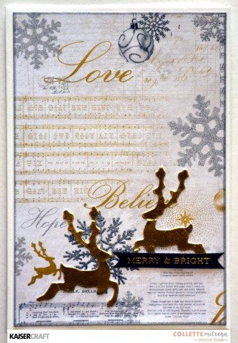'Merry and Bright' Christmas Card by Collette Mitrega Design Team Kaisercraft using 'Glisten' collection. Saved from  kaisercraft.com.au - Wendy Schultz - Christmas Cards + Tags.
