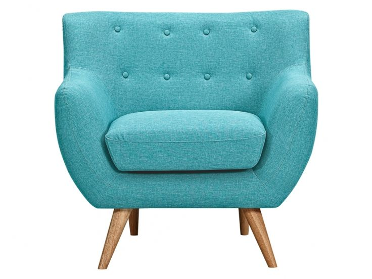 Fauteuil en tissu serti bleu turquoise avec boutons d co assortis 200 la - Tissus bleu turquoise ...