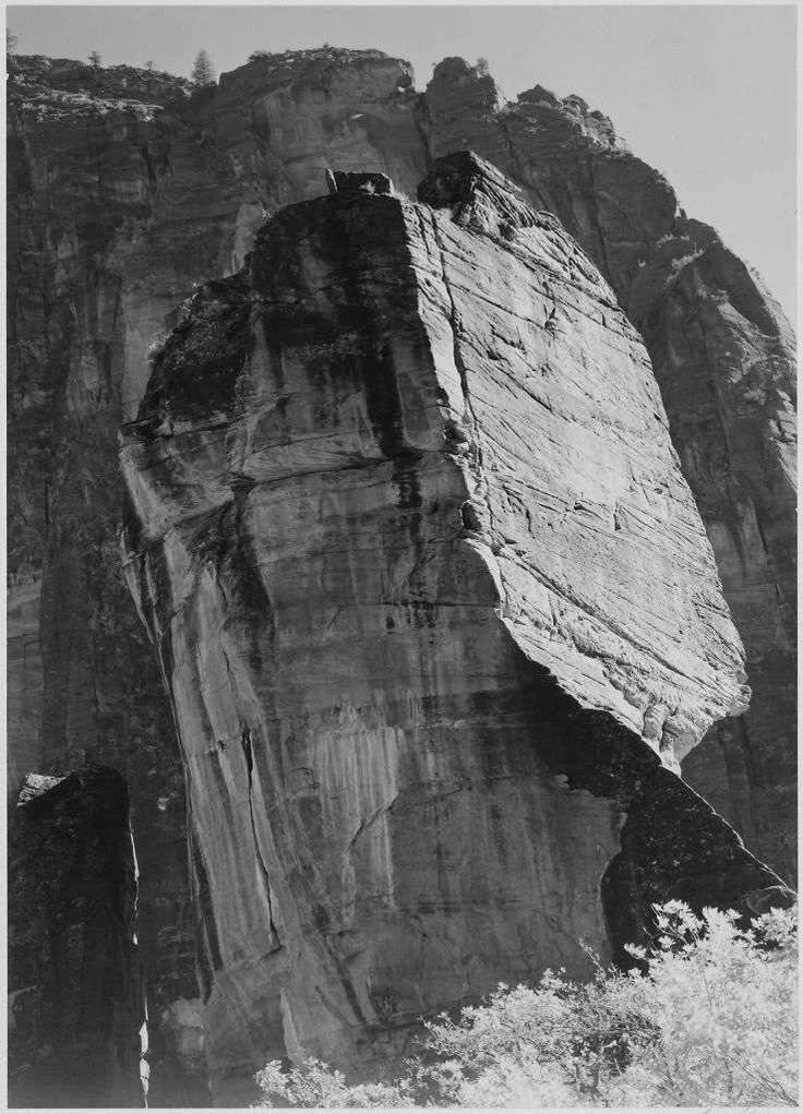 A view of some of the loomiung peaks in Zion National Park, Utah, taken by Ansel Adams.