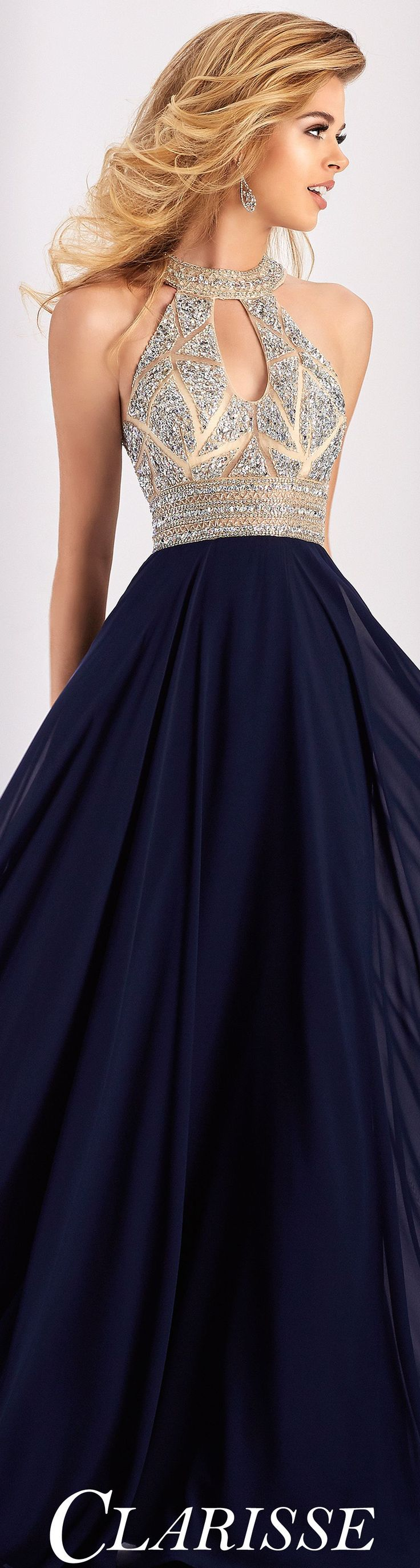 Clarisse Prom Dress 3087.  Chiffon prom dress featuring a halter neckline, open back and crystal embellishments. COLOR: Navy SIZE: 0-24 Warehouse Sales On Designer Clothes 90% OFF. Free Shipping On All Products at