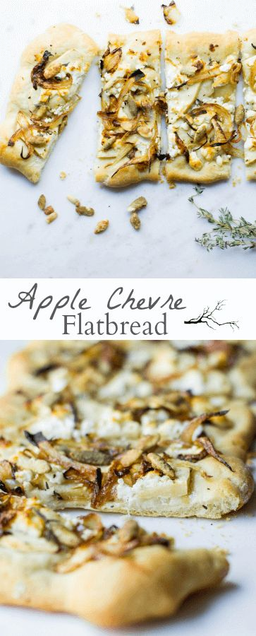 Apple Chevre Flatbread: apple slices, goat cheese, pumpkin seeds, and caramelized onions on a thin, homemade flatbread.