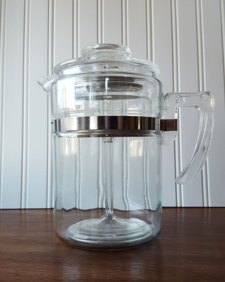 Pyrex Flameware Coffee Percolator, 6 Cup, 7826, Clear Glass, Mid-Century, Vintage Kitchen, Stove Top, Coffee Maker, COMPLETE, Collectible by HoardingSisters on Etsy