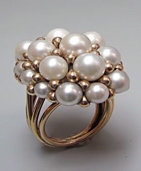 Vintage & Antique Jewelry - YELLOW GOLD FUNKY PEARL RING