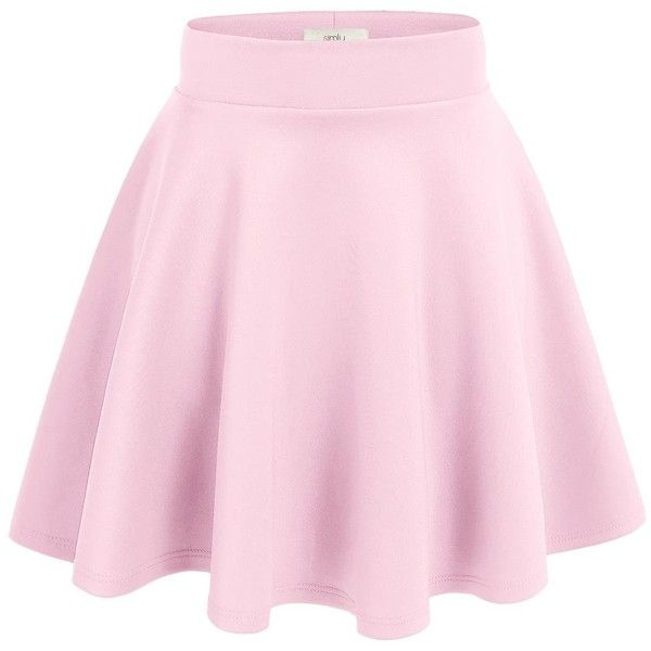Simlu Women's A Line Flared Skater Skirt (98 DKK) ❤ liked on Polyvore featuring skirts, flared hem skirt, pink flare skirt, wide skirt, pink skirt and knee length flared skirts