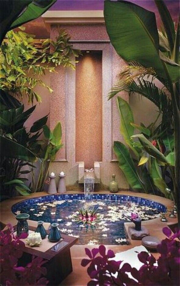 Stunning and Ultimate Harmonious Bathroom Decoration With Exotic Floral  Plant and blue white tile tub    Fricking awesome    Whats not to love. 17 Best images about Bathroom Decor on Pinterest   Bathrooms decor