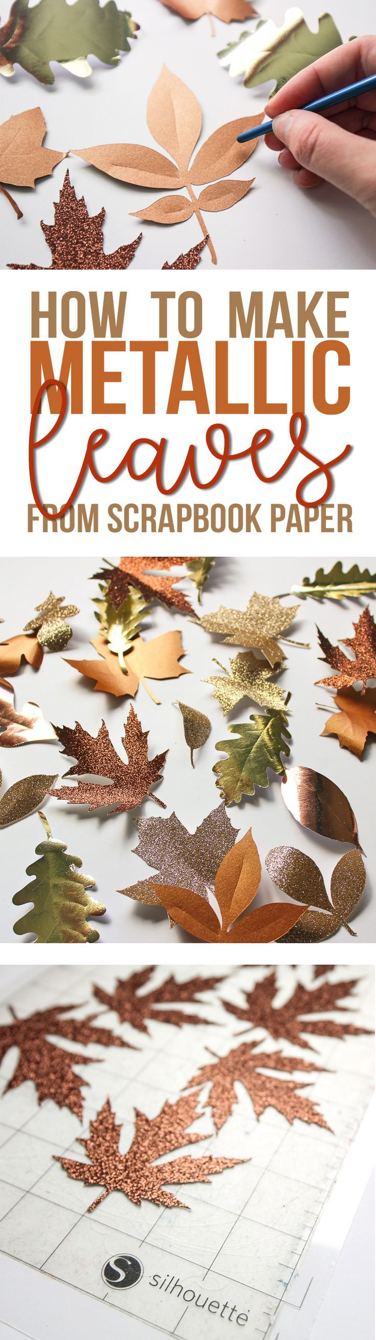 Use your Silhouette machine to make these beautiful and realistically shaped fall leaves out of paper. They are gorgeous in mixed metallic shades of gold, copper, rose gold and champagne. In love with this easy fall craft!