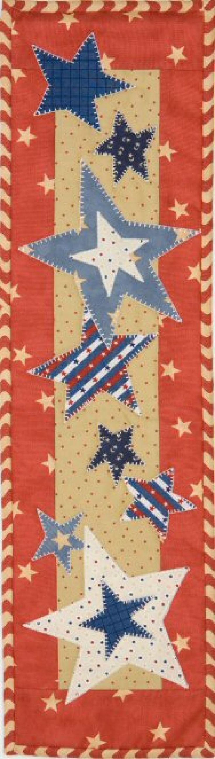 Spools doll quilt table runner wall hanging lyn brown s quilting - A Summer Patriotic Runner With Easy Applique