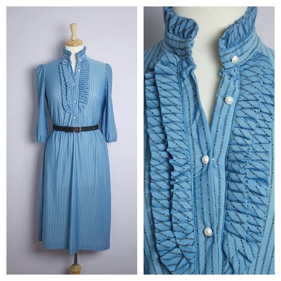 Vintage 1970's/80's Blue Pin Stripe Ruffle High Neck