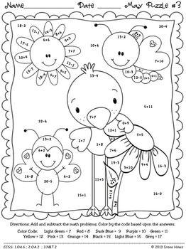 "Math ""May""hem ~ May Math Printables Color By The Code Puzzles"
