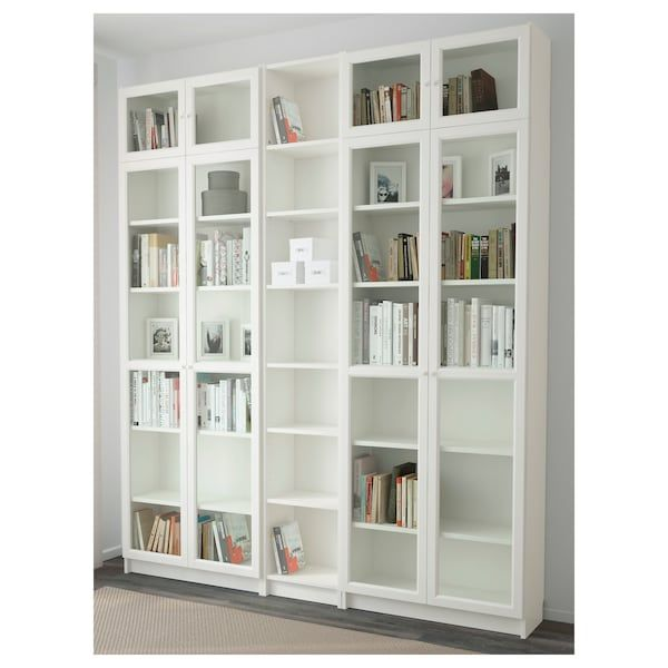 Billy Oxberg Bookcase White 78 3 4x11 3 4x93 1 4 Ikea In 2020 White Bookcase Bookcase White Bookshelves