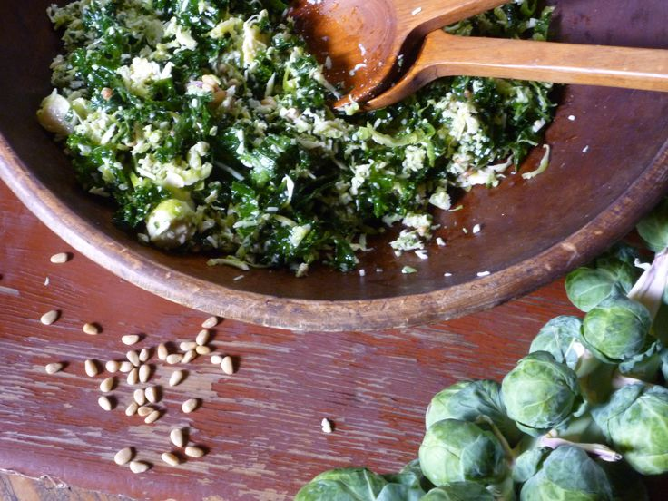 Kale and Brussels Sprout Salad Recipe : Nancy Fuller :  Like Del Frisco's Grill, just add orange and dried cranberries  YUM Food Network