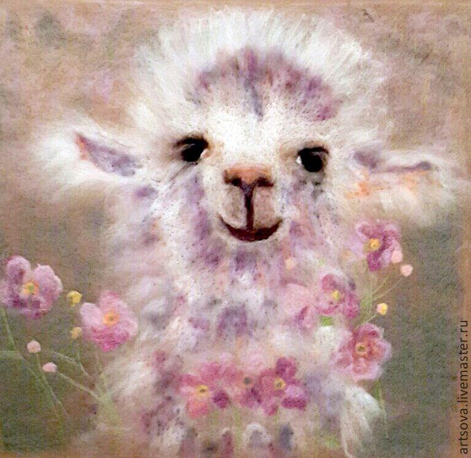 Купить картина из шерсти Излучающий радость. - бежевый, подарок, подарок девушке, подарок на день рождения