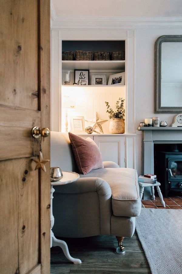Soft Grey Blue Fireplace Cottage Living Rooms Cosy Living Room