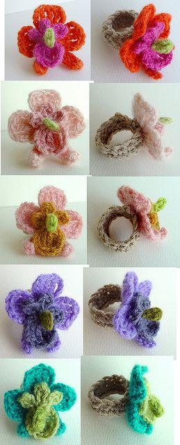 Crochet Orchid Flower Rings 1 by meekssandygirl, via Flickr