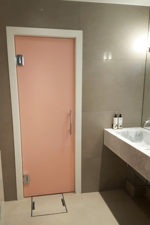 A bespoke pink painted frameless glass entrance door created by Room for the female washroom at the luxury Dog u0026 Badger bar and restaurant in Marlow. & 8 best Bespoke Washroom Cubicles at The Dog u0026 Badger Marlow images ... pezcame.com