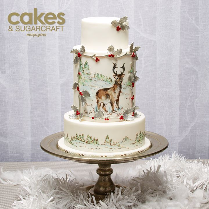 Festive framed deer winter scene painted cake tutorial by Natasha Collins for the Winter 2014-15 issue of Cakes & Sugarcraft magazine