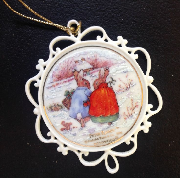 "Wedgwood white Jasper ""Two Rabbits in the Snow"" ornament.  Beatrix Potter illustration."