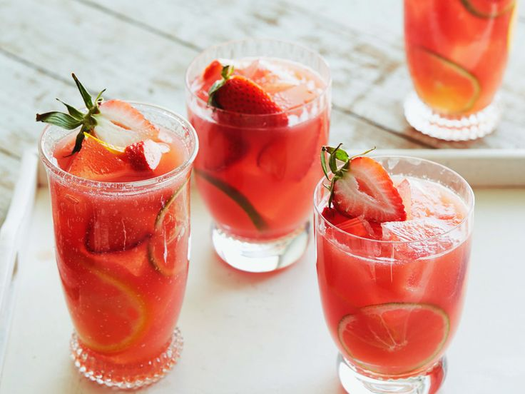 WATERMELON-­STRAWBERRY SANGRIA, Bobby Flay, Barbecue Addiction: Bobby'sBasics/Bobby's Basics: Simply Skewers, Food Network, Watermelon, Strawberries, RoseWine, Vodka, Orange Juice, Orange Liqueur, Orange, Lime