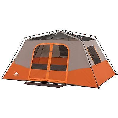 8 Person Cabin Camping Tent Mountain Travel Family Shelter Rainfly Orange Tan
