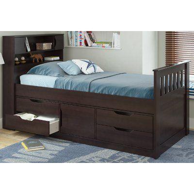 Viv + Rae Deion Twin Captain Bed with Storage Color: Rich Espresso