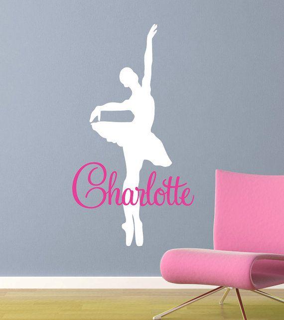 Girl Wall Decal Ballerina Dancer - Kids Vinyl Wall Art Sticker - Dancing Girl with Name - CG115A