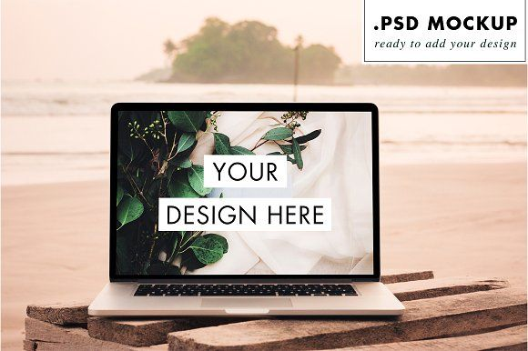 Psd Laptop Digital Nomad Beach Graphic Design Mockup Digital Nomad Graphic Design Photoshop