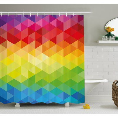 """Ambesonne Geometrical Polygonal Diamond Forms with Triangle Mirroring Lines Artwork Shower Curtain Set Size: 75"""" H x 69"""" W x 1"""" D"""
