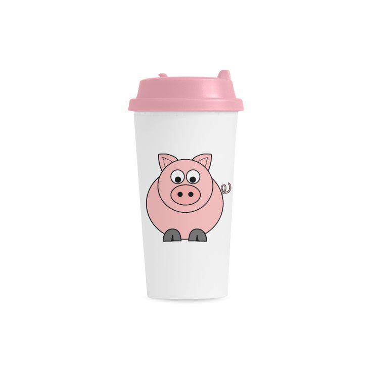 Fat Pink Pig Double Wall Plastic Mug