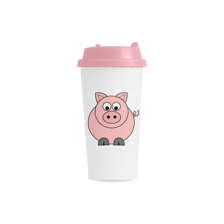 Fat Pink Pig Double Wall Plastic Mug