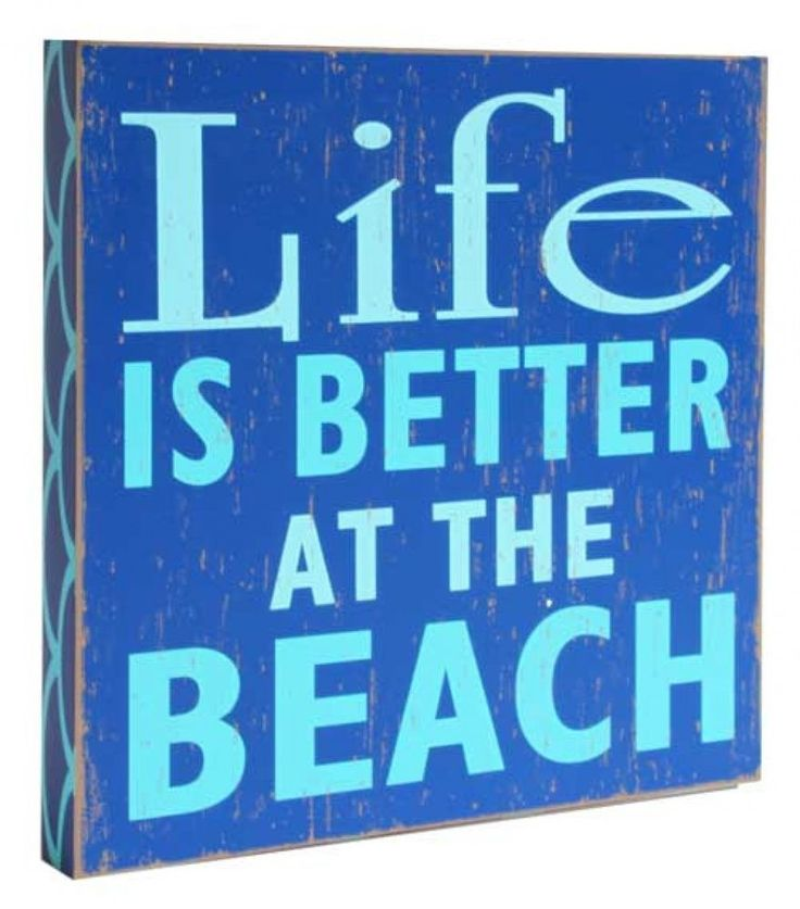 Wooden Sign - Life Is Better At The Beach - 30cm x 30cm - coastal decor - blue