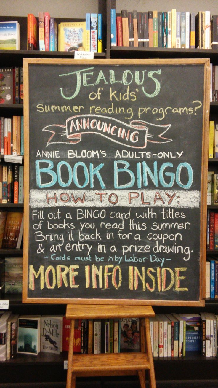 Book Bingo adult summer reading program! This chalkboard was used as part of a bookstore window display.